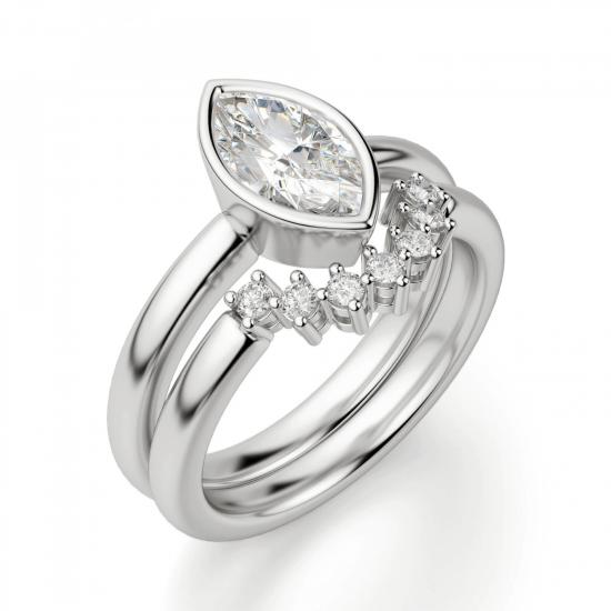 Кольцо с бриллиантом маркиз в белом золоте,  Больше Изображение 5