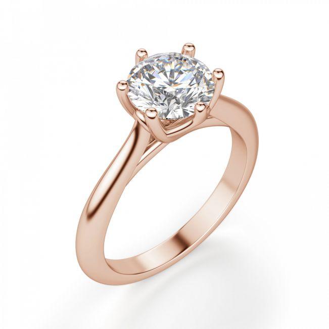 Кольцо с круглым бриллиантом в 6 крапанах - Фото 2