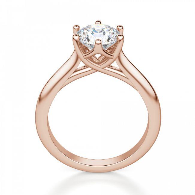 Кольцо с круглым бриллиантом в 6 крапанах - Фото 1
