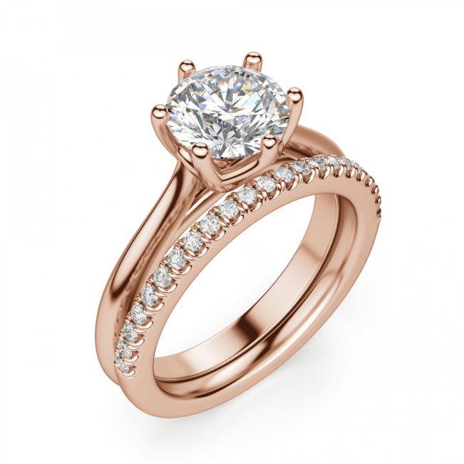Кольцо с круглым бриллиантом в 6 крапанах - Фото 3