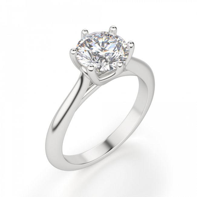 Кольцо с круглым бриллиантом в 6 лапках - Фото 2