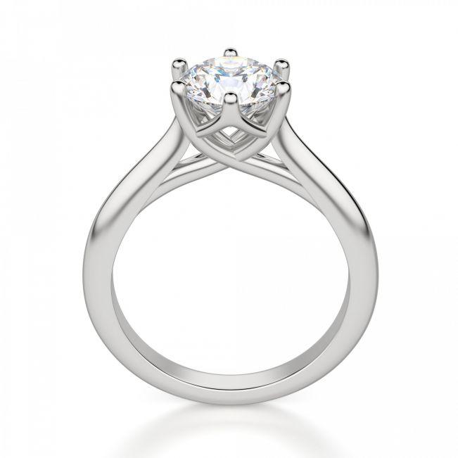 Кольцо с круглым бриллиантом в 6 лапках - Фото 1