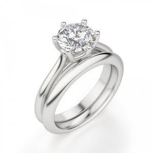 Кольцо с круглым бриллиантом в 6 лапках