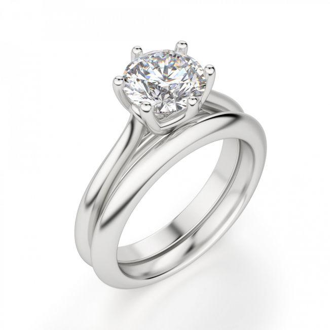 Кольцо с круглым бриллиантом в 6 лапках - Фото 3