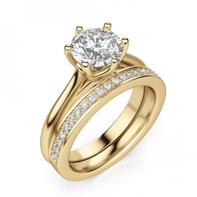Кольцо с круглым бриллиантом в 6 лапах