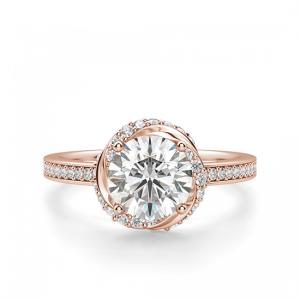 Кольцо с бриллиантами из розового золота