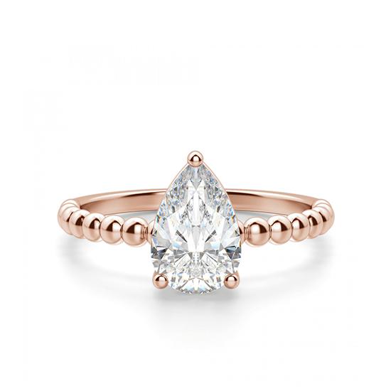 Кольцо с бриллиантом капля из розового золота, Больше Изображение 1