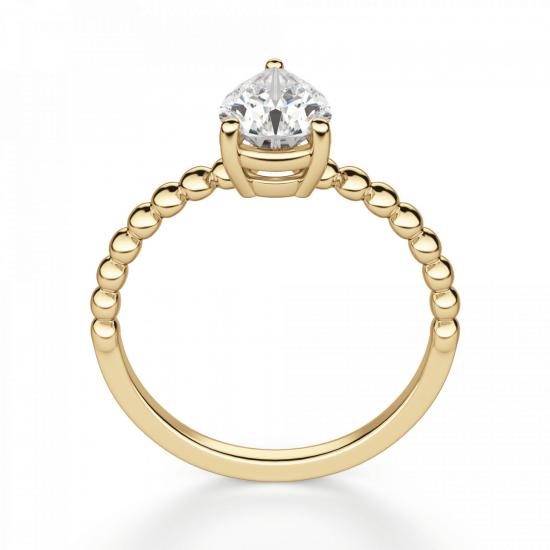Кольцо с бриллиантом Груша из желтого золота,  Больше Изображение 2