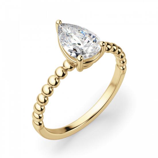 Кольцо с бриллиантом Груша из желтого золота,  Больше Изображение 3