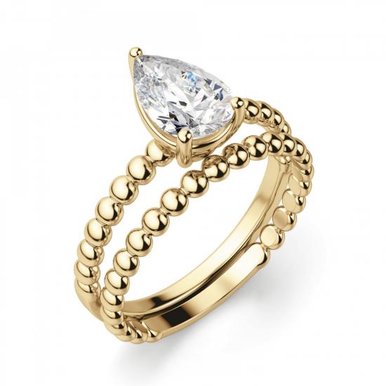 Кольцо с бриллиантом Груша из желтого золота,  Больше Изображение 4