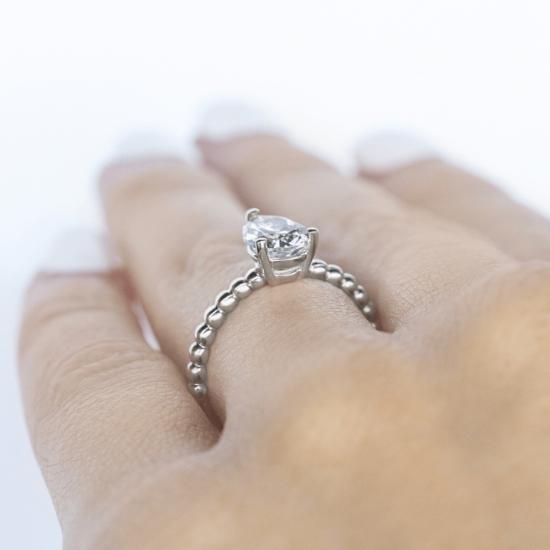 Кольцо с бриллиантом капля на шинке из шариков,  Больше Изображение 5