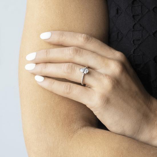 Кольцо с бриллиантом капля на шинке из шариков,  Больше Изображение 6