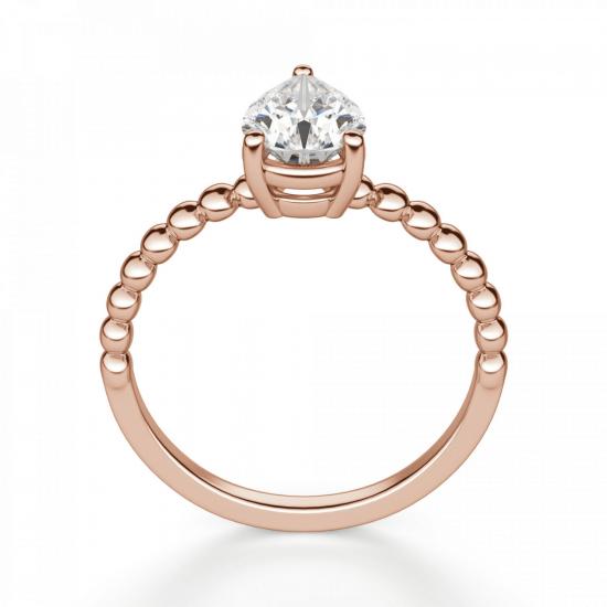 Кольцо с бриллиантом капля из розового золота,  Больше Изображение 2