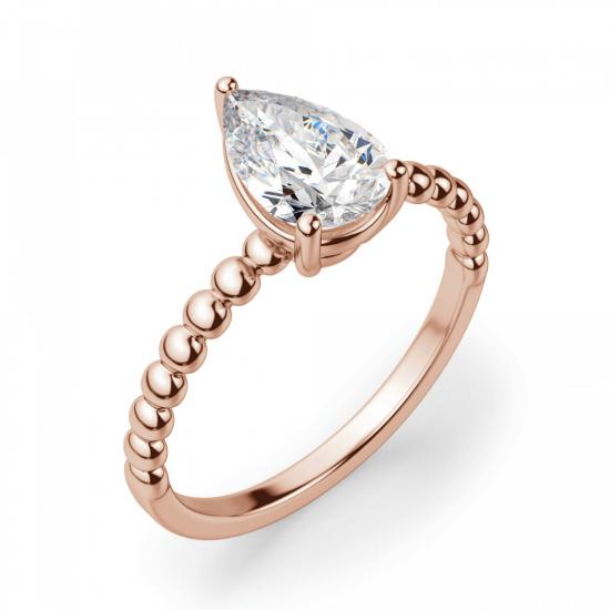 Кольцо с бриллиантом капля из розового золота,  Больше Изображение 3