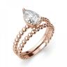 Кольцо с бриллиантом капля из розового золота, Изображение 4