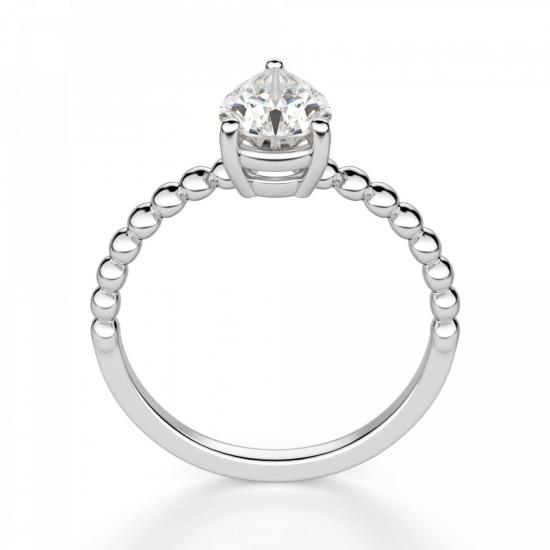 Кольцо с бриллиантом капля на шинке из шариков,  Больше Изображение 2