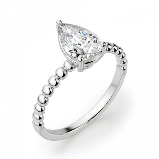 Кольцо с бриллиантом капля на шинке из шариков,  Больше Изображение 3