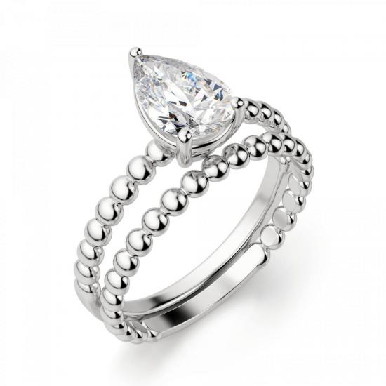 Кольцо с бриллиантом капля на шинке из шариков,  Больше Изображение 4