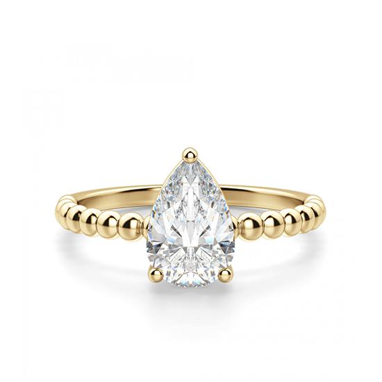 Кольцо с бриллиантом Груша из желтого золота, Больше Изображение 1