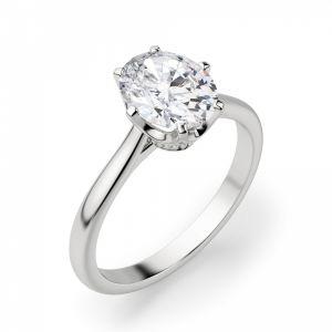 Кольцо с овальным бриллиантом в 6 крапанах