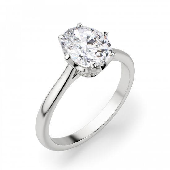 Кольцо с овальным бриллиантом в 6 крапанах,  Больше Изображение 2