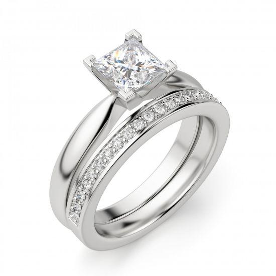 Кольцо с бриллиантом «принцесса»,  Больше Изображение 4