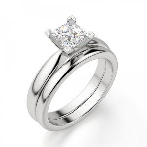 Кольцо с бриллиантом «принцесса» - Фото 1