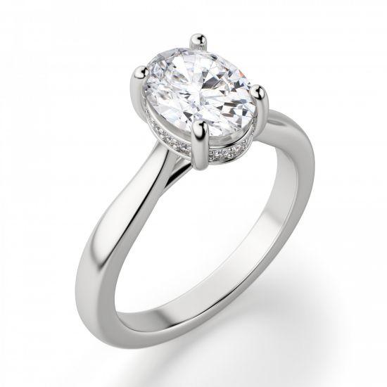 Кольцо с 1 овальным бриллиантом со скрытым паве,  Больше Изображение 2