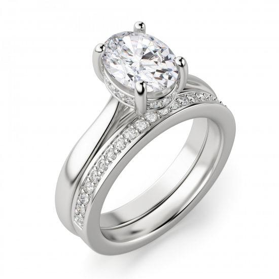 Кольцо с 1 овальным бриллиантом со скрытым паве,  Больше Изображение 3