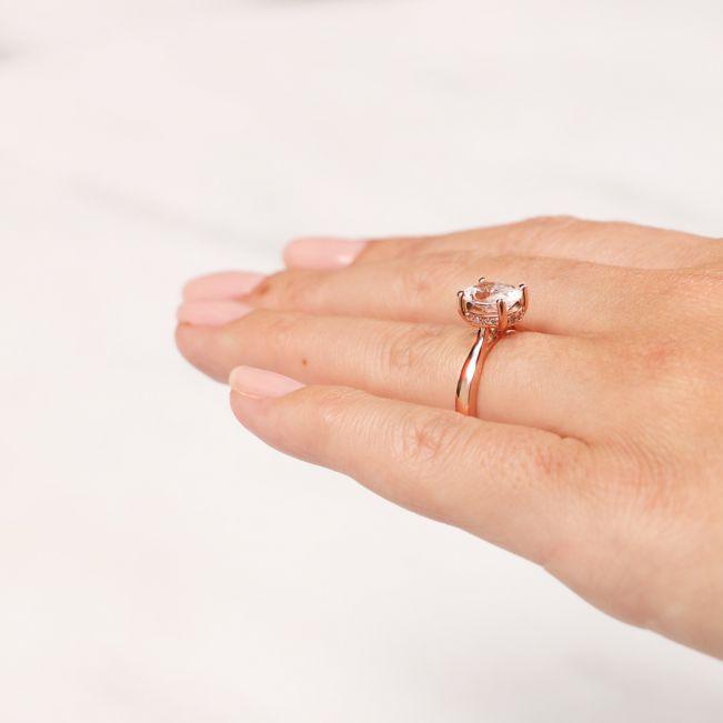 Кольцо с 1 овальным бриллиантом со скрытым паве