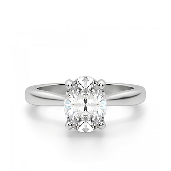 Кольцо с 1 овальным бриллиантом со скрытым паве, Больше Изображение 1