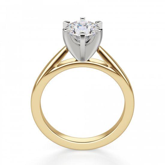Кольцо с бриллиантом для помолвки из желтого золота,  Больше Изображение 2