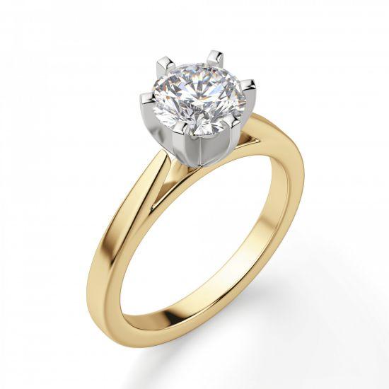 Кольцо с бриллиантом для помолвки из желтого золота,  Больше Изображение 3