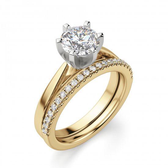 Кольцо с бриллиантом для помолвки из желтого золота,  Больше Изображение 4