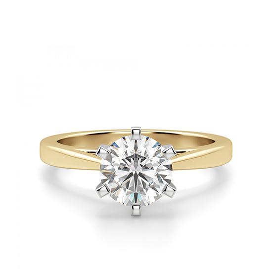 Кольцо с бриллиантом для помолвки из желтого золота, Больше Изображение 1