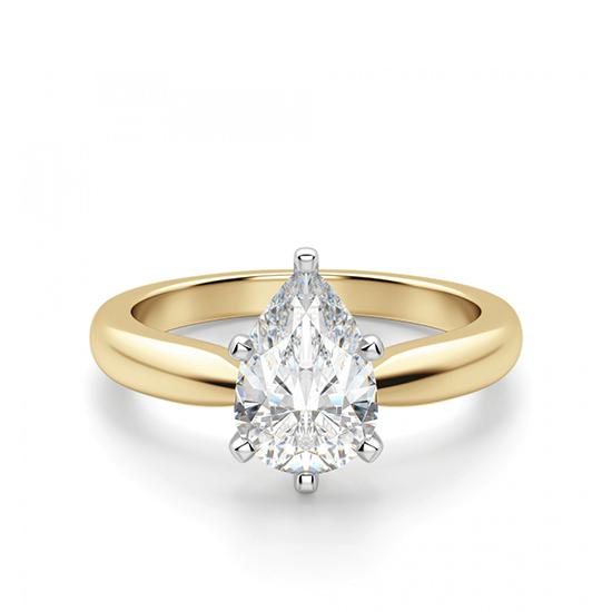 Кольцо с бриллиантом капля в 6 лапках из золота, Больше Изображение 1