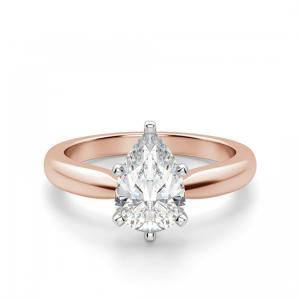 Кольцо с бриллиантом капля в 6 лапках из  розового золота