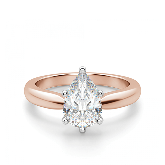 Кольцо с бриллиантом капля в 6 лапках, Больше Изображение 1