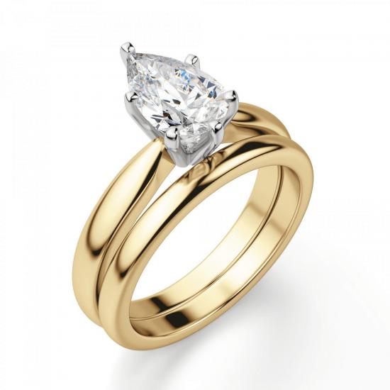 Кольцо с бриллиантом капля в 6 лапках из золота,  Больше Изображение 4