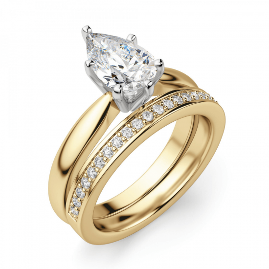 Кольцо с бриллиантом капля в 6 лапках из золота,  Больше Изображение 5