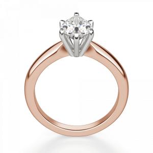 Кольцо с бриллиантом капля в 6 лапках из  розового золота - Фото 1