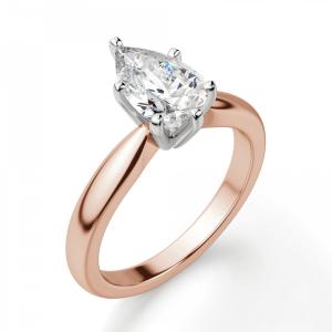 Кольцо с бриллиантом капля в 6 лапках из  розового золота - Фото 2