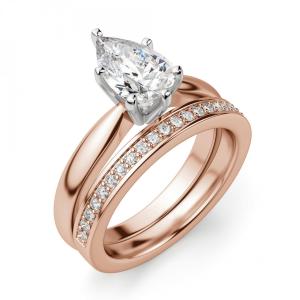 Кольцо с бриллиантом капля в 6 лапках из  розового золота - Фото 4