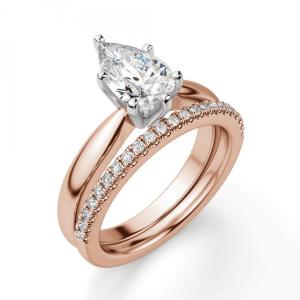 Кольцо с бриллиантом капля в 6 лапках из  розового золота - Фото 5