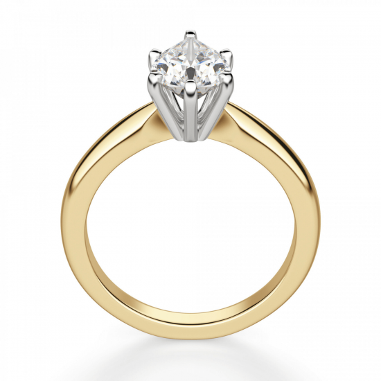 Кольцо с бриллиантом капля в 6 лапках из золота,  Больше Изображение 2