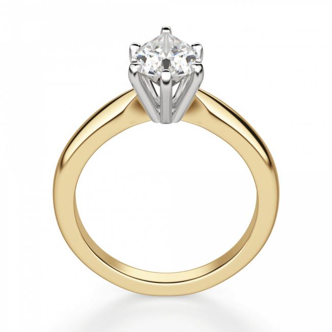 Кольцо с бриллиантом капля в 6 лапках из золота - Фото 1
