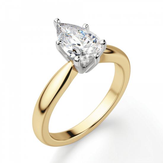 Кольцо с бриллиантом капля в 6 лапках из золота,  Больше Изображение 3