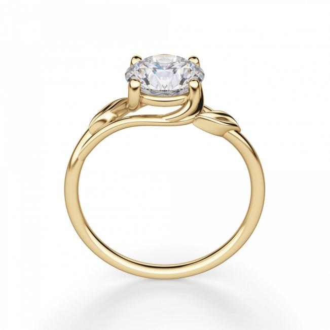 Кольцо с бриллиантом с золотыми листиками - Фото 1