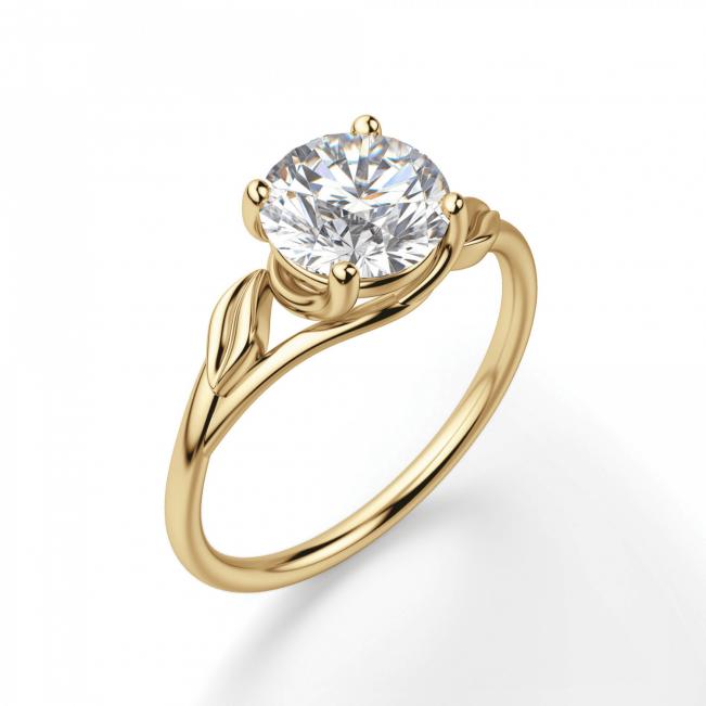 Кольцо с бриллиантом с золотыми листиками - Фото 2