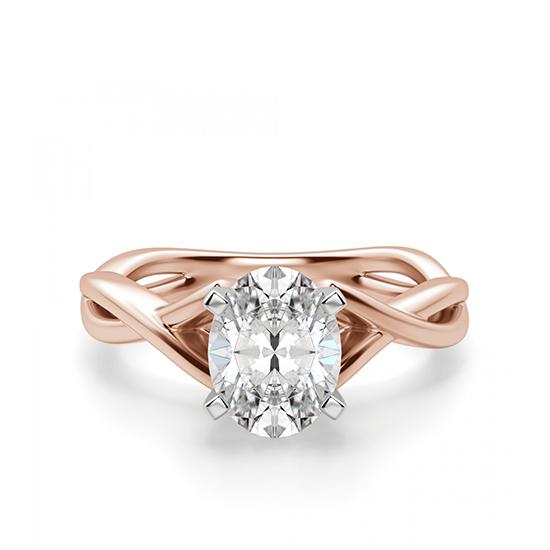 Кольцо с переплетениями с овальным бриллиантом, Больше Изображение 1